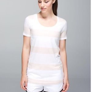 Lululemon Every Yogi tan and white striped top